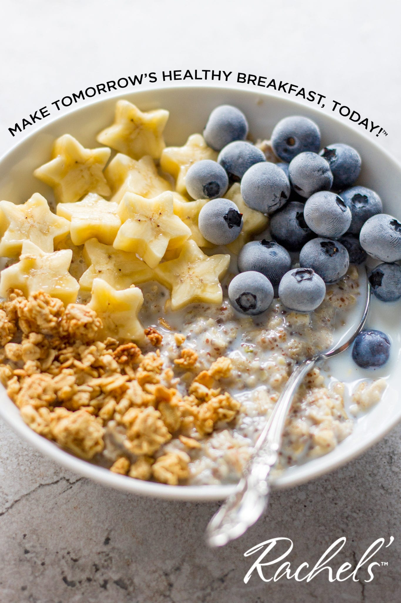 Rachel Overnight oats in bowl with fruit
